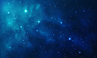Beautiful space with blue nebula, realistic vector - EPS 10 Wall mural