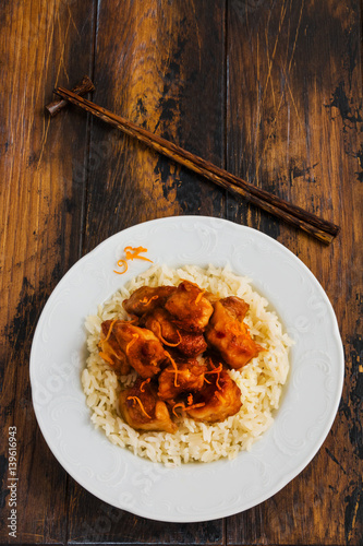 American chinese cuisine orange chicken with boiled rice for American chinese cuisine