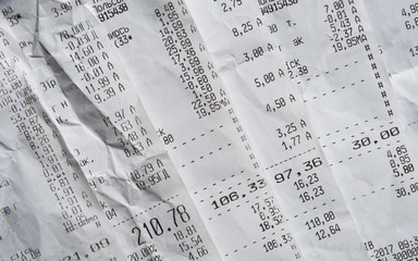 Pile Of Generic Shopping Receipts With Costs