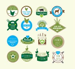 farm fresh and farm shop and farmed locally logos