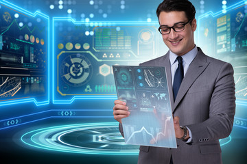 Businessman in big data management concept