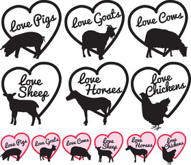 love british farm animal logos or stickers, labels.