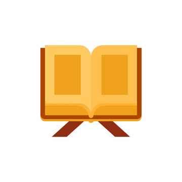 Holy Quran on wooden book stand icon