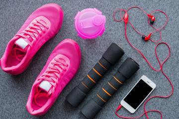 sports equipment for fitness training on a gray background