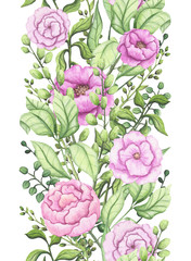 Seamless Border of Watercolor Herbs and Pink Flowers