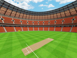 3D render of a round cricket stadium with orange seats and VIP boxes