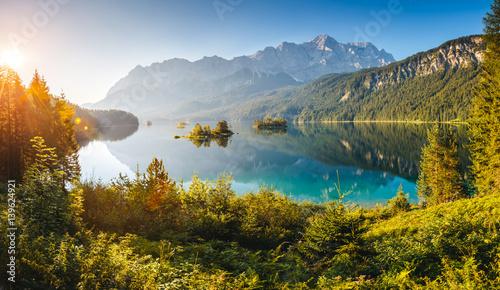 Wall mural beautiful alpine lake