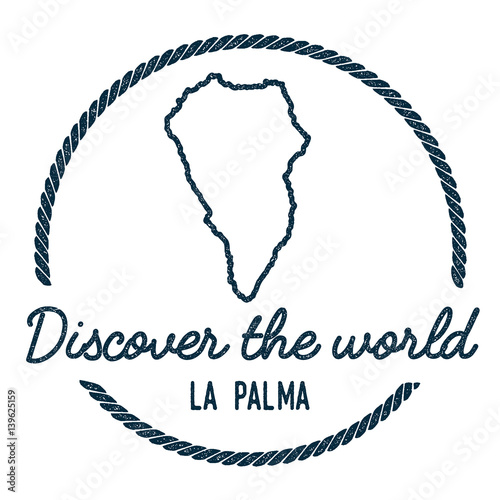 La Palma Map Outline. Vintage Discover the World Rubber Stamp with ...