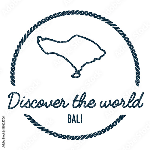 Bali Map Outline Vintage Discover The World Rubber Stamp With