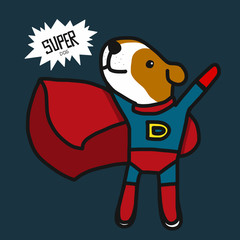 Super Jack Russell dog cartoon vector illustration