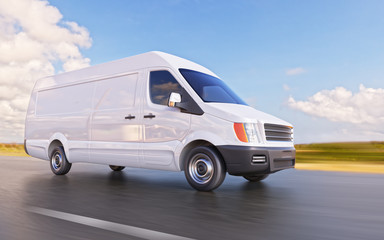 White Commercial Van on the Road Motion Blurred 3d Illustration