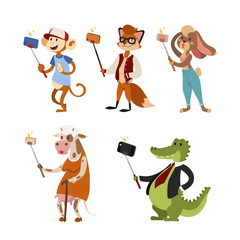 Funny picture photographer mamal person take selfie stick in his hand and cute animal taking a selfie together with smartphone camera vector illustration.