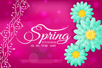 Vector illustration of Spring is in the air on the gradient red background with floral pattern and green flowers.