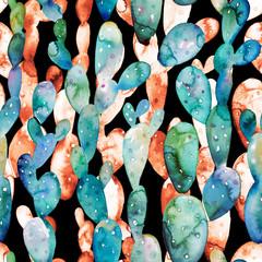 Watercolor cactus seamless pattern. Tropical succulent garden illustration