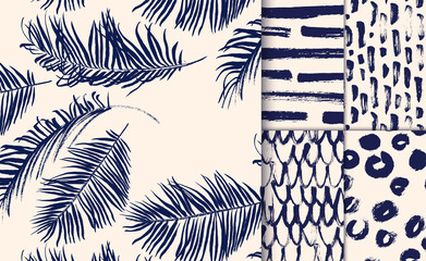 701383 Set of blue seamless patterns drawn with dry brush.