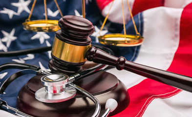 USA Justice Scale and gavel american healthcare