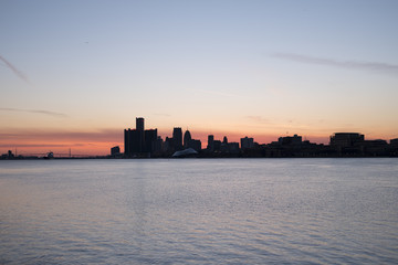 skyline of Detroit at dusk