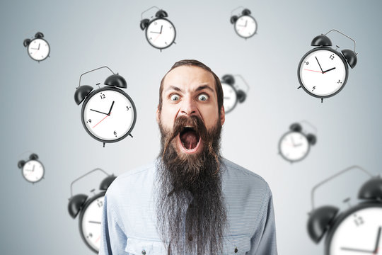 Yelling man and alarm clock, gray