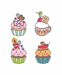 Set Cupcake kawaii geek, desenho cupcake, bolo de copo, bolinhos, emotions, elementos, doce 21