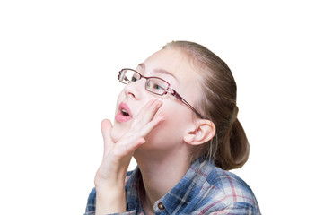 emotional teen girl against a white background