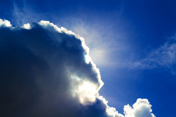 Sun behind dark stormy cloud. Sun on cloudy sky in afternoon