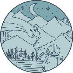 Astronaut Brontosaurus Moon Stars Mountains Circle Mono Line