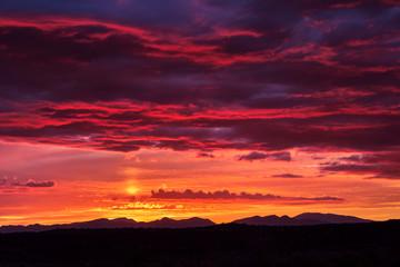 Sunset sun pillar