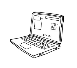 Laptop Computer Doodle, a hand drawn vector illustration of a laptop browsing the internet.