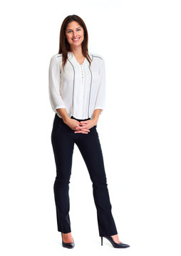 Business woman white background