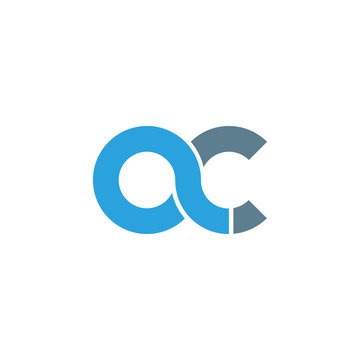 Initial letter ac modern linked circle round lowercase logo blue gray
