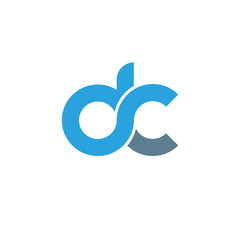 Initial letter dc modern linked circle round lowercase logo blue gray