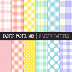 Easter Colors Polka Dots, Gingham and Tartan Plaid Vector Patterns