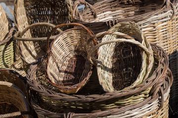 Empty wicker baskets for sale in a market place