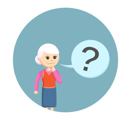 old woman with question mark callout in circle background