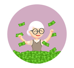 old woman enjoying her retirees money in circle background