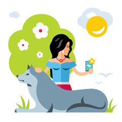 Vector selfie girl with a dog. Flat style colorful Cartoon illustration.