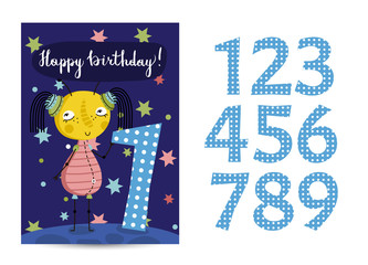 Happy birthday cartoon greeting card template with digits set on space theme. Cute alien, colorful stars, saturn planet vector on blue background. Editable invitation on childrens costumed party