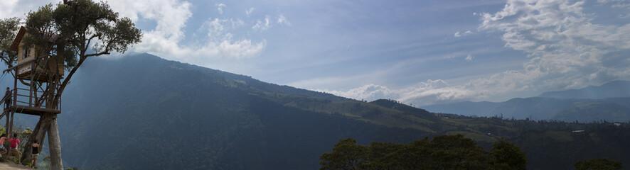 Mountain view with La casa del Arbol in Banos, Ecuador