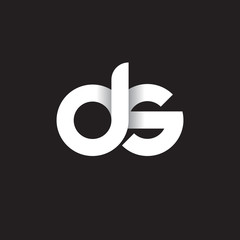 Initial lowercase letter ds, linked circle rounded logo with shadow gradient, white color on black background