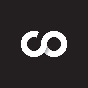 Initial lowercase letter co, linked circle rounded logo with shadow gradient, white color on black background