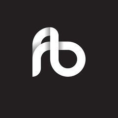 Initial lowercase letter fb, linked circle rounded logo with shadow gradient, white color on black background