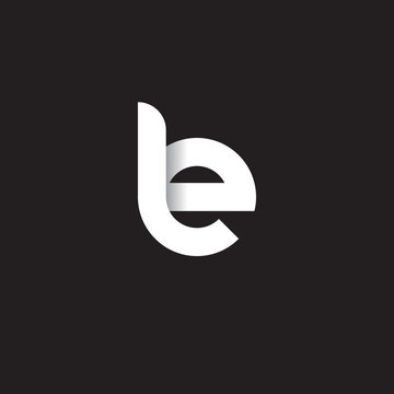 Initial lowercase letter le, linked circle rounded logo with shadow gradient, white color on black background