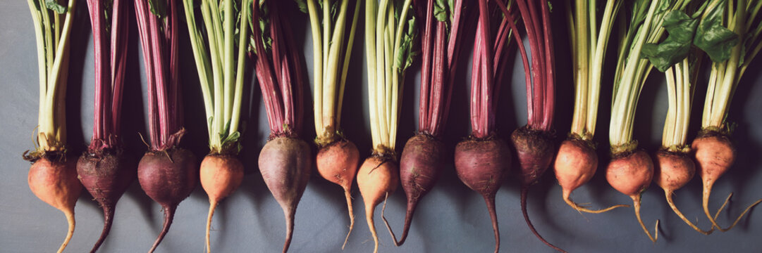 Mix of red and gold beets on grey background. Food background. Concept of healthy eating