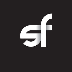 Initial lowercase letter sf, linked circle rounded logo with shadow gradient, white color on black background