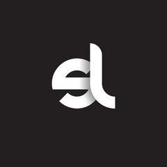 Initial lowercase letter sl, linked circle rounded logo with shadow gradient, white color on black background