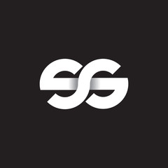 Initial lowercase letter ss, linked circle rounded logo with shadow gradient, white color on black background