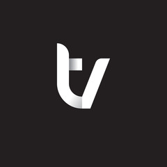 Initial lowercase letter tv, linked circle rounded logo with shadow gradient, white color on black background