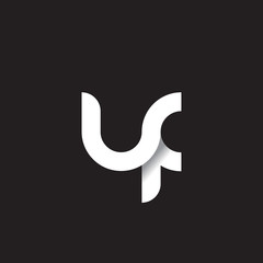 Initial lowercase letter uf, linked circle rounded logo with shadow gradient, white color on black background