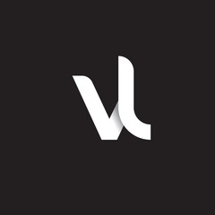 Initial lowercase letter vl, linked circle rounded logo with shadow gradient, white color on black background