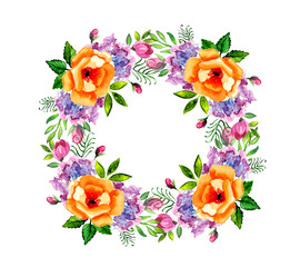 Watercolor flower roses wreath